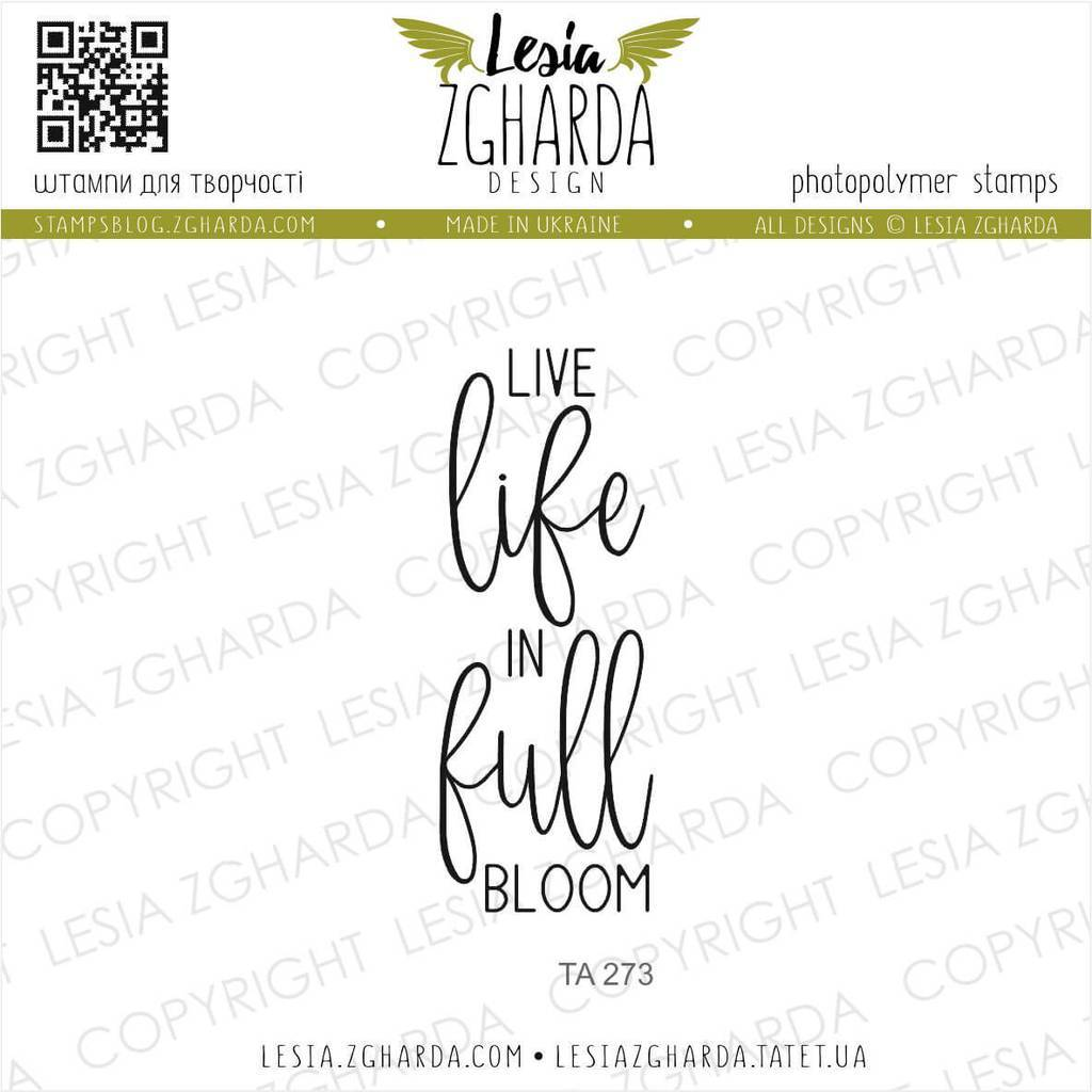 Live life in full bloom | Lesia Zgharda Sentiment Stamps