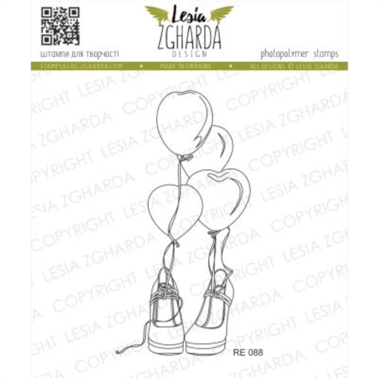 "{RE088} Stamp ""Shoes and balloons"""