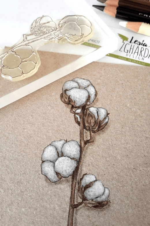Floral cards ideas with cotton branch stamp. Floral clear stamp | Lesia Zgharda coloring stamps