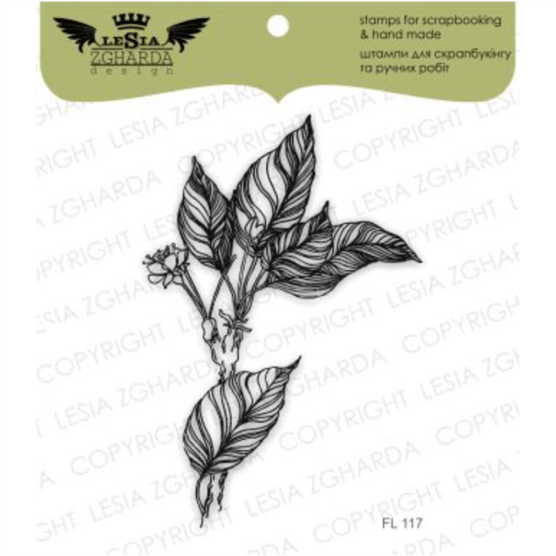 "{FL117} Stamp ""Sprigs of leaves and blooms"""
