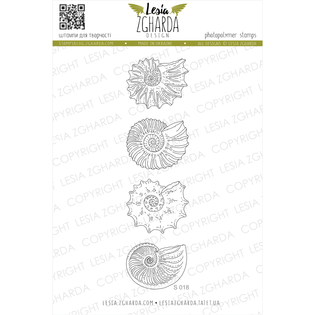 "{S018} Stamp Set ""Small Ammonites"""