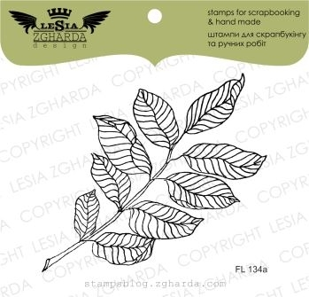 Image - Branch with leaves stamp (large) by Lesia Zgharda floral clear stamps. A lot of leaves stamps, and other floral stamps for card making you can find, and by online in our store. Welcome!