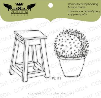 "{FL113} Stamp Set ""A chair with a flowerpot"""