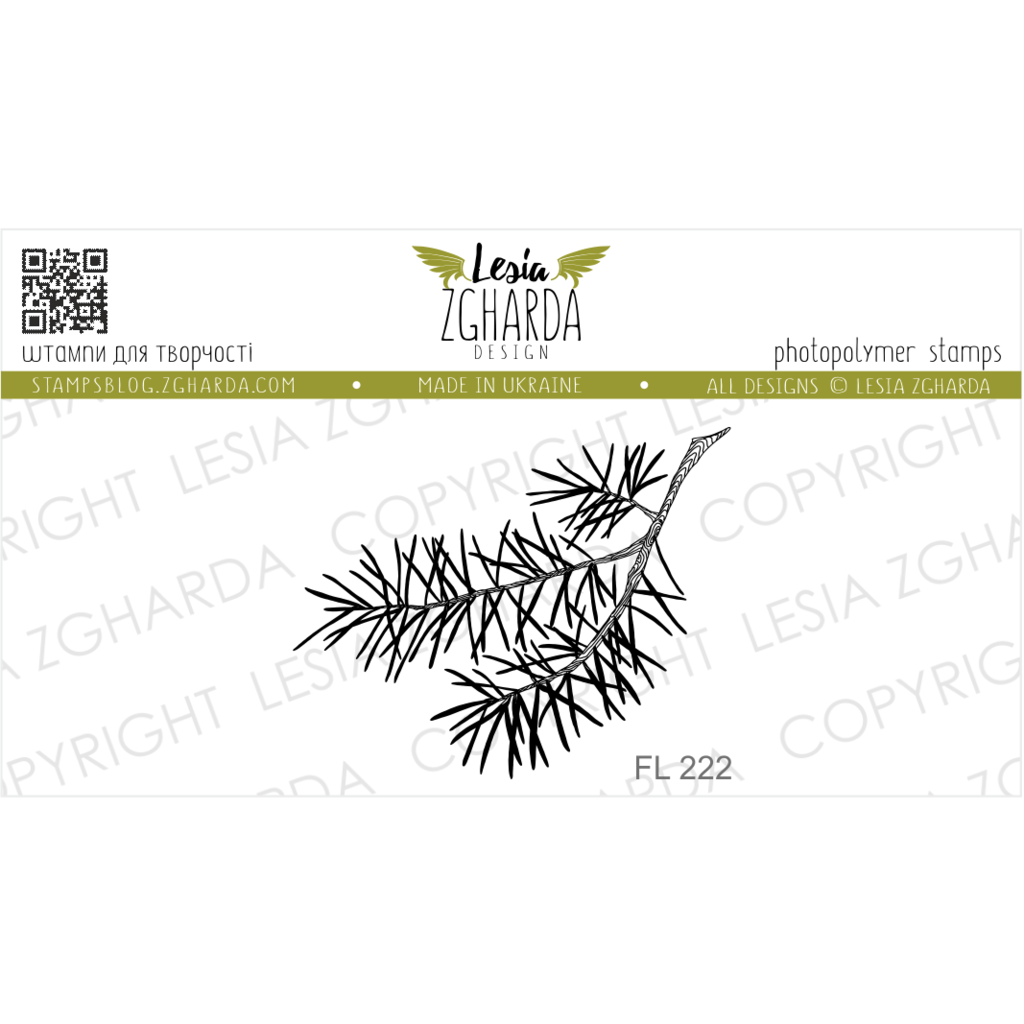 "{FL222} Stamp ""Branch of pine small"""
