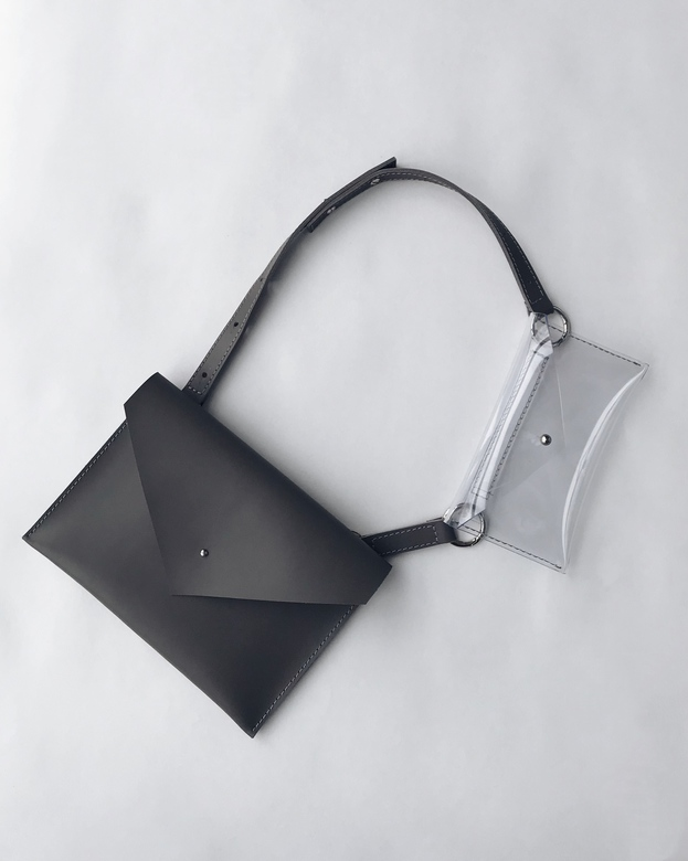 Minimalism in bags Leather Transformer Bag/Waist Bag Grey (серый)