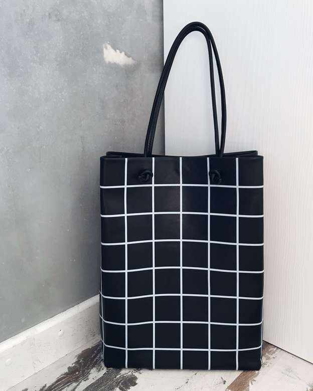 "Minimalism in bags  Leather Bag ""Black Check"" (клетка)"