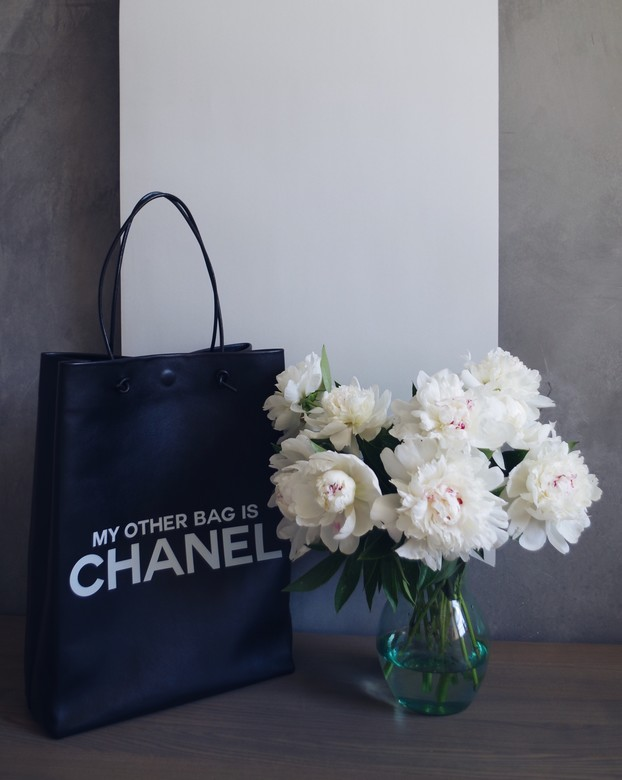 "Minimalism in bags  Leather Bag Black Print ""My other bag is CHANEL"" (Черный)"