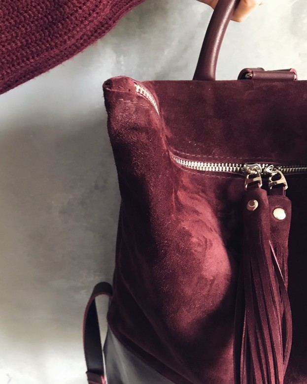 Minimalism in bags Leather Combination Backpack velour + leather (портвейн)