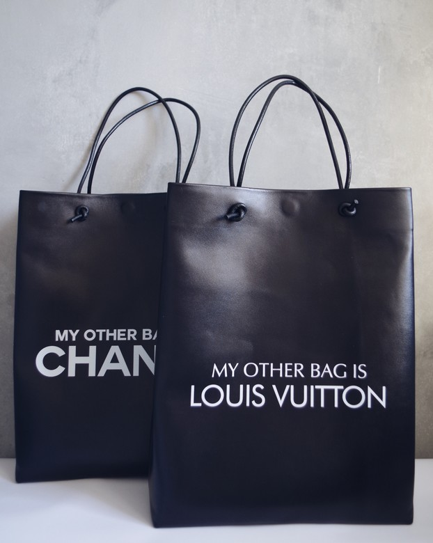 "Minimalism in bags  Leather Bag Black Print ""My other bag is LOUIS VUITTON"" (Черный)"