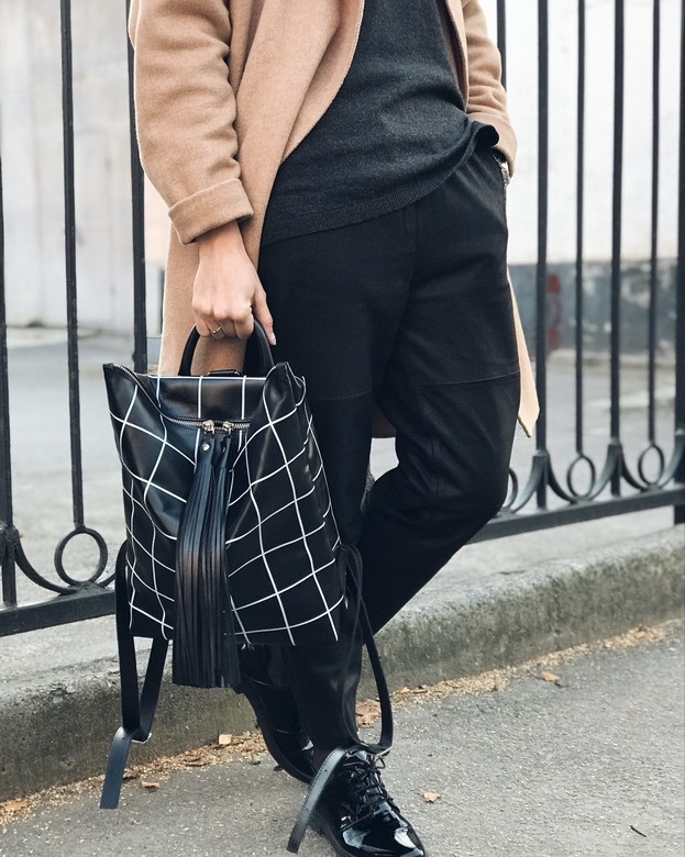 Minimalism in bags Leather Backpack Black Check (Черная клетка)