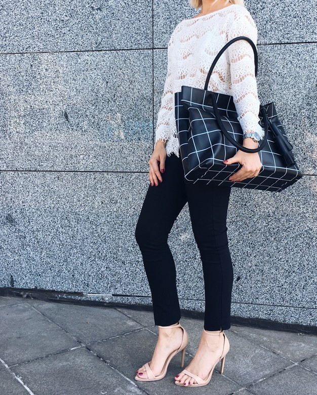 Minimalism in bags Leather Shopper Black Check (Черная клетка)