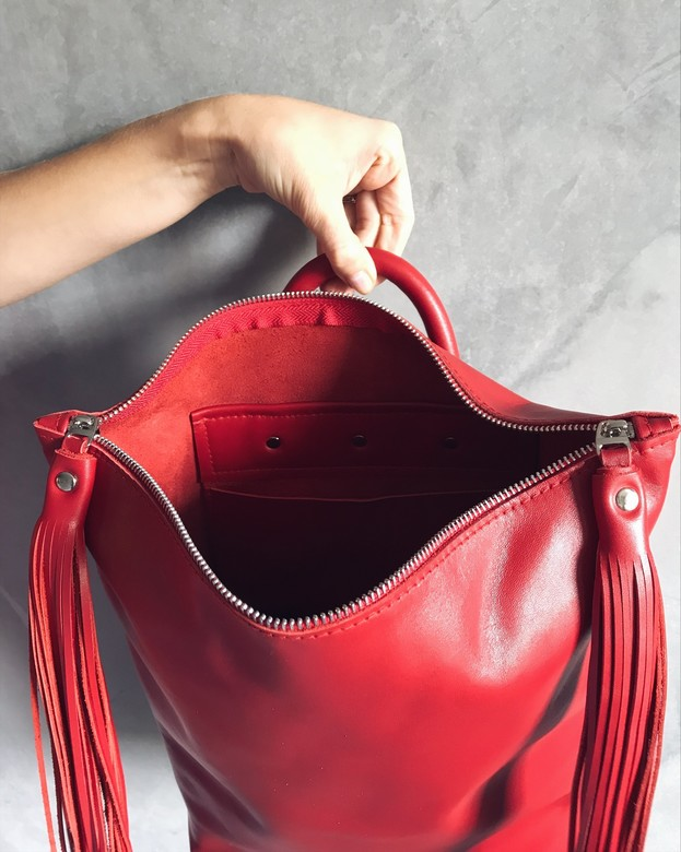 Minimalism in bags Leather Backpack Red (Красный)