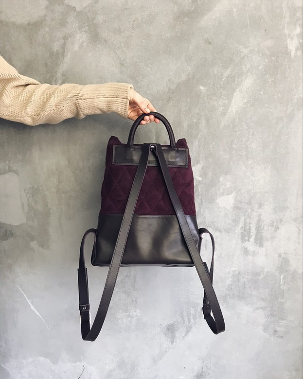 Minimalism in bags  Velour Stitch Backpack Violet (фиолет)