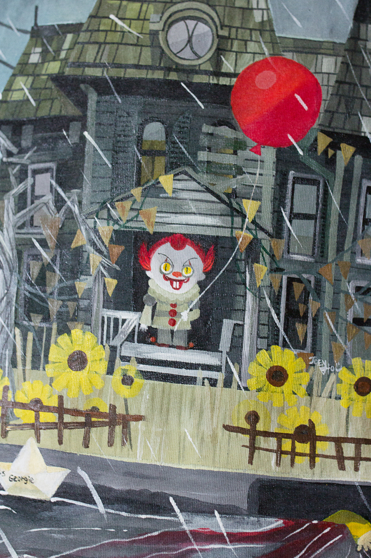 Футболка с росписью - ОНО - Клоун с шариком - You'll float too