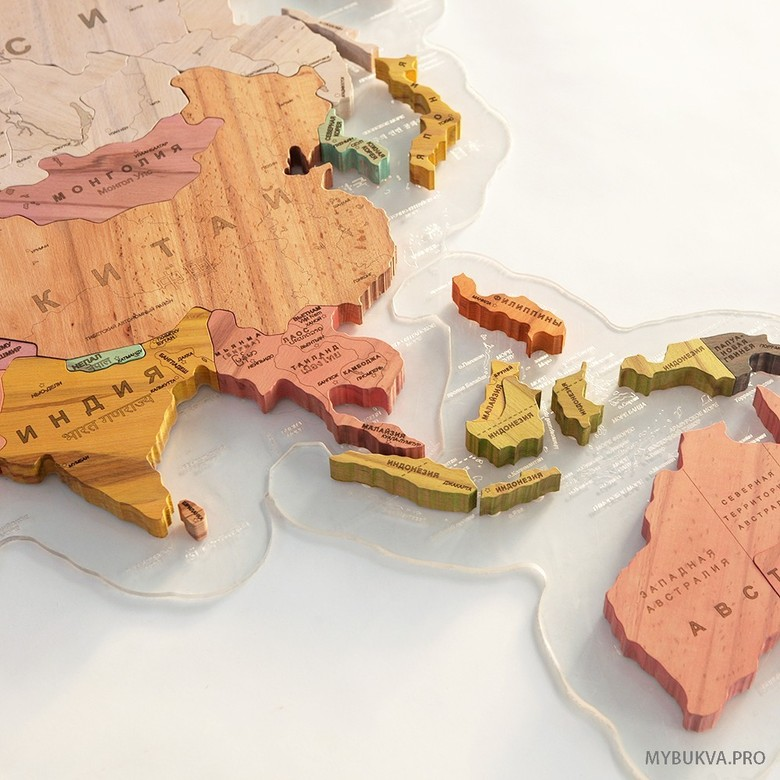 Color Wooden World Map