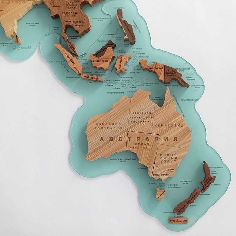 Wooden World Map. Russian language. Turquoise background.