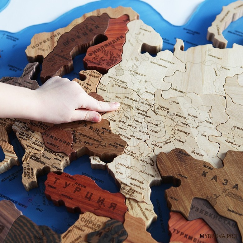 Wooden World Map. Russian language. Azure background.