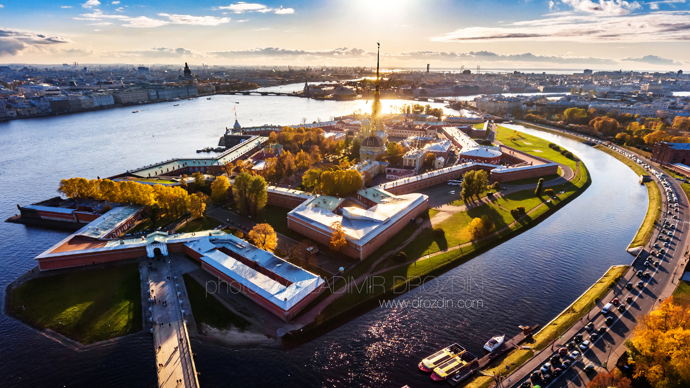 Aerial view of Peter and Paul Fortress at sunset / Saint-Petersburg / 2017