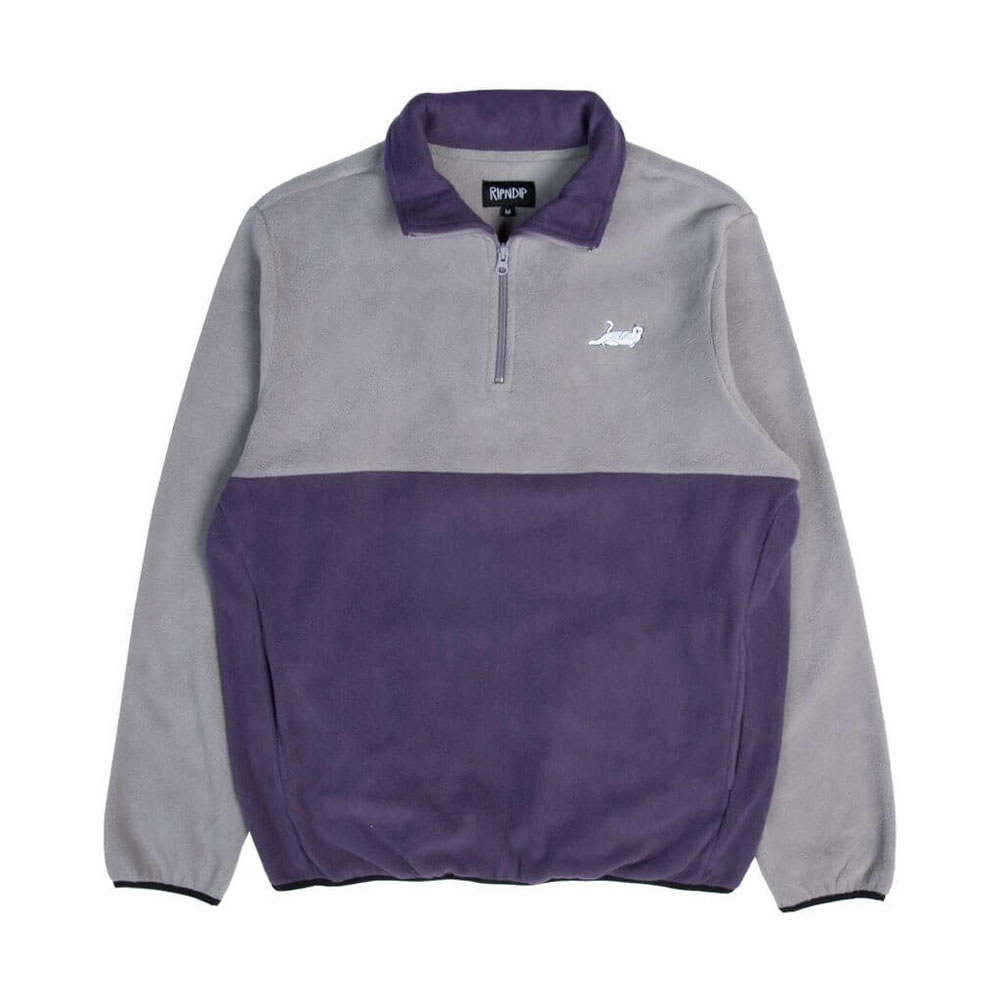 Толстовка RIPNDIP Castanza Half Zip Brushed Fleece Sweater Grey Purple