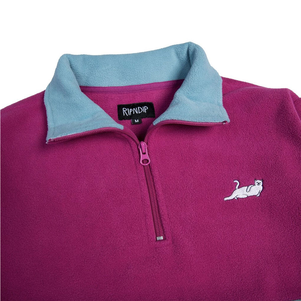 Толстовка RIPNDIP Castanza Half Zip Brushed Fleece Sweater Purple Fuschia Aqua