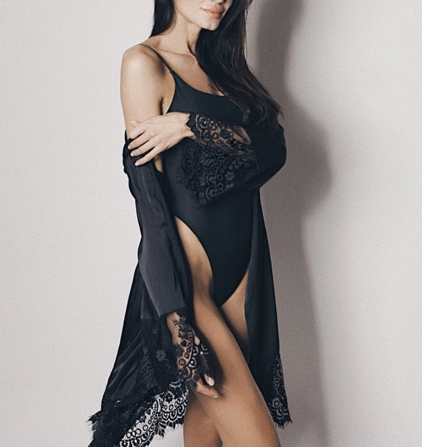 BLACK CHARMEUSE ROBE with lace