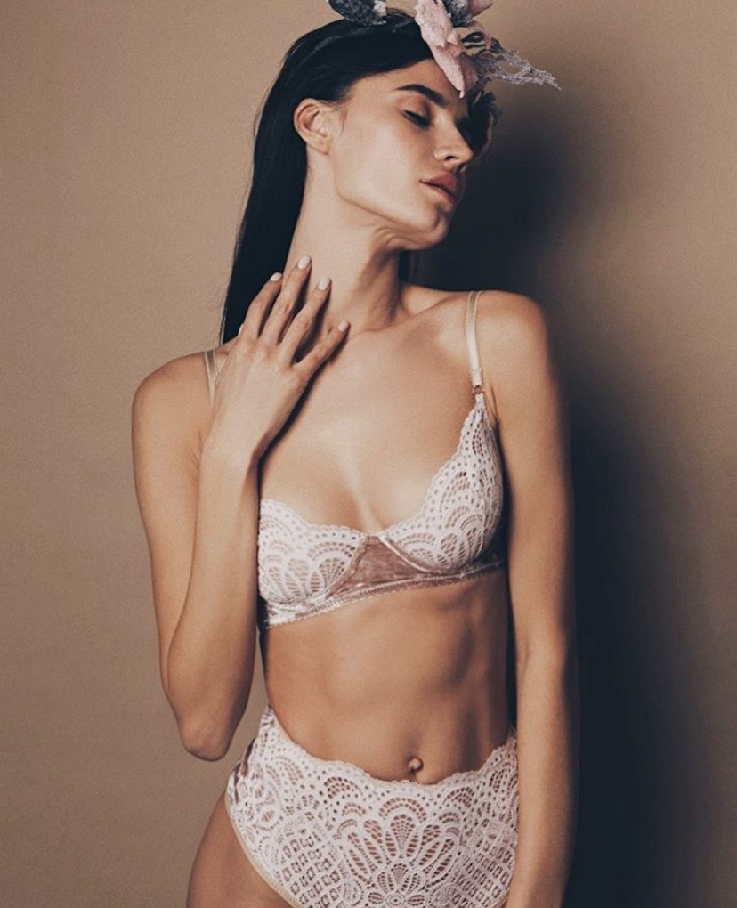 DUSTY PINK LACE BRA