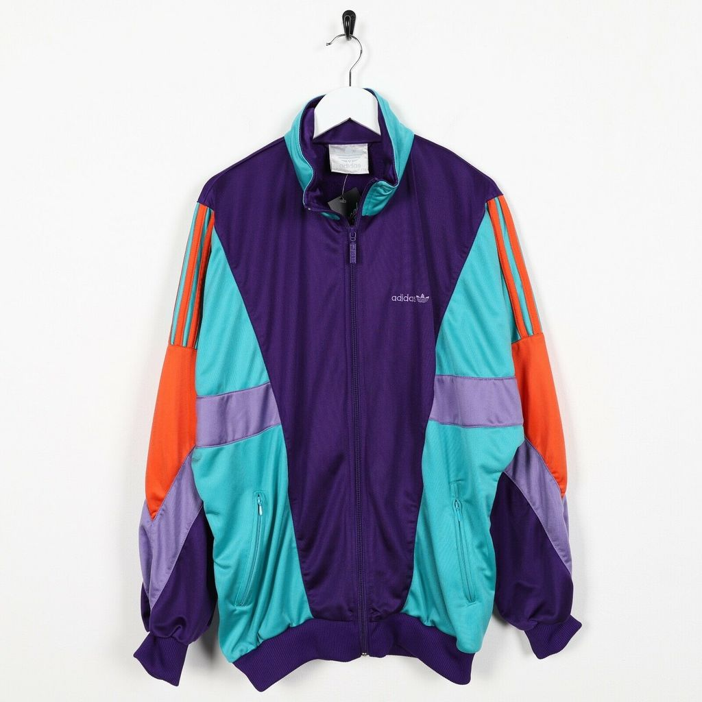 Винтажная олимпийка 80s ADIDAS Small Logo Purple Teal Medium