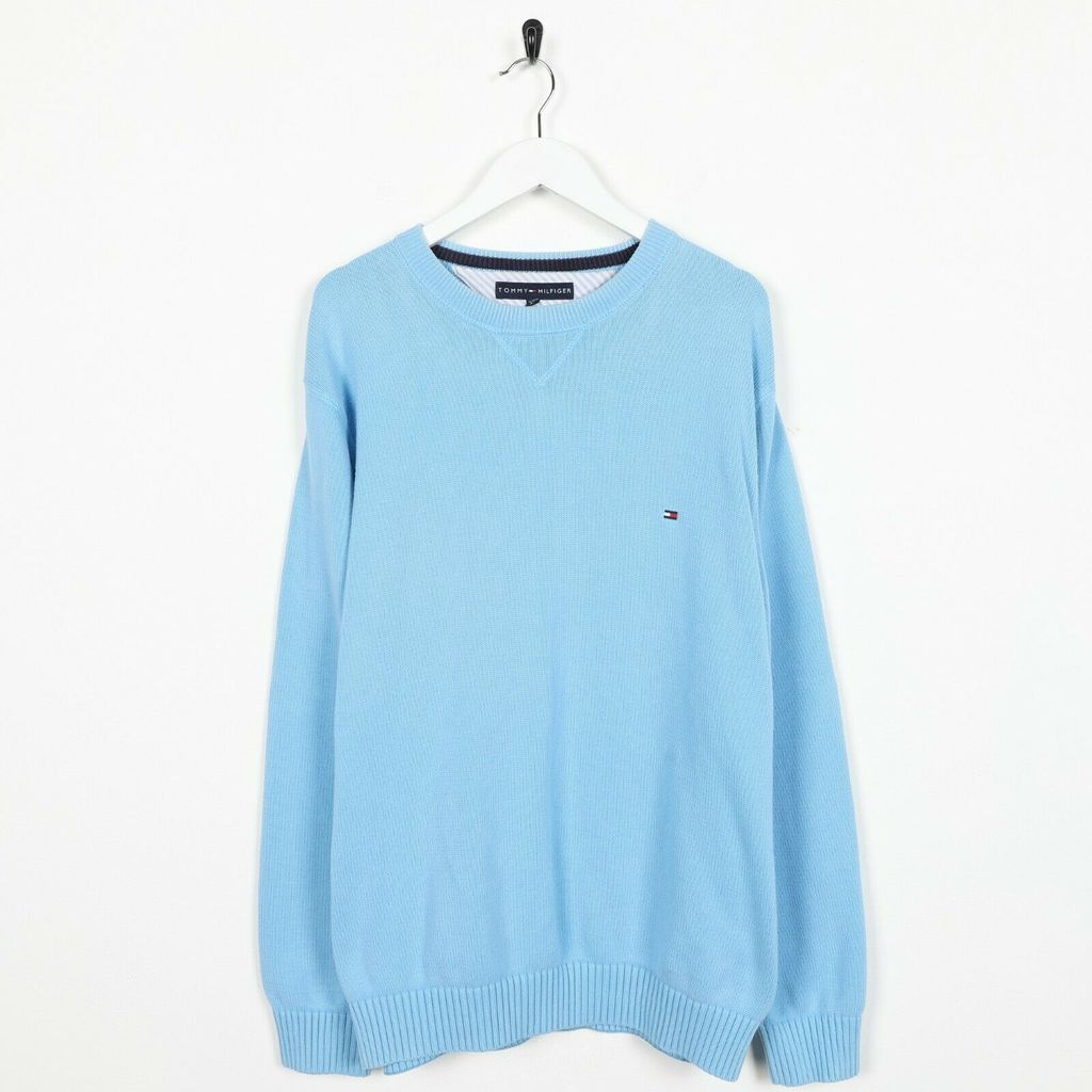 Винтажный свитшот TOMMY HILFIGER Small Logo Knitted Blue