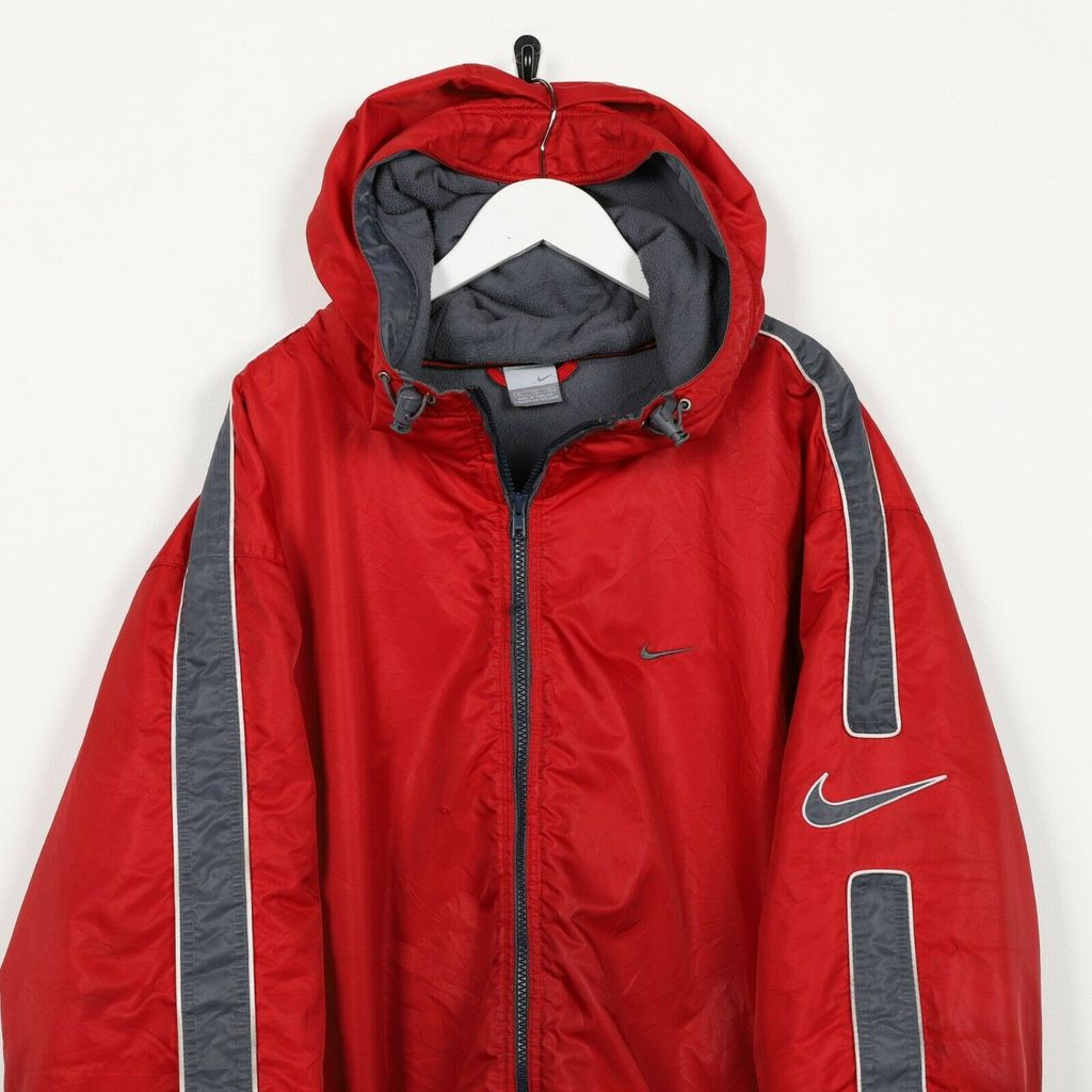 Винтажная куртка NIKE Small Logo Fleece Lined Hooded Padded Trench Red