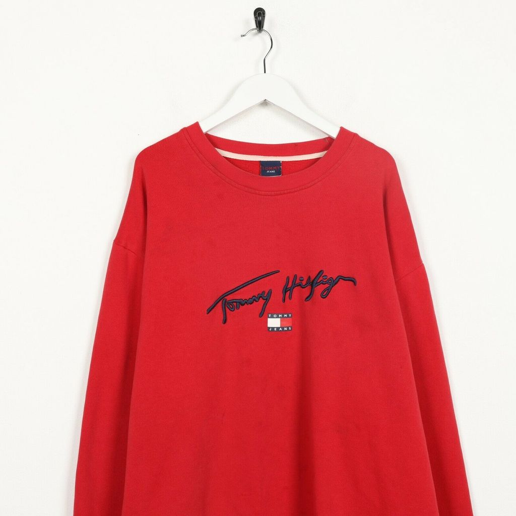 Винтажный свитшот TOMMY HILFIGER Central Logo Spell Out Red