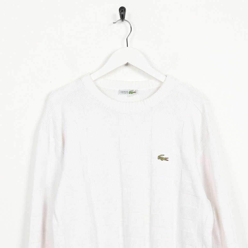 Винтажный свитшот LACOSTE Small Logo Knitted Sweatshirt White
