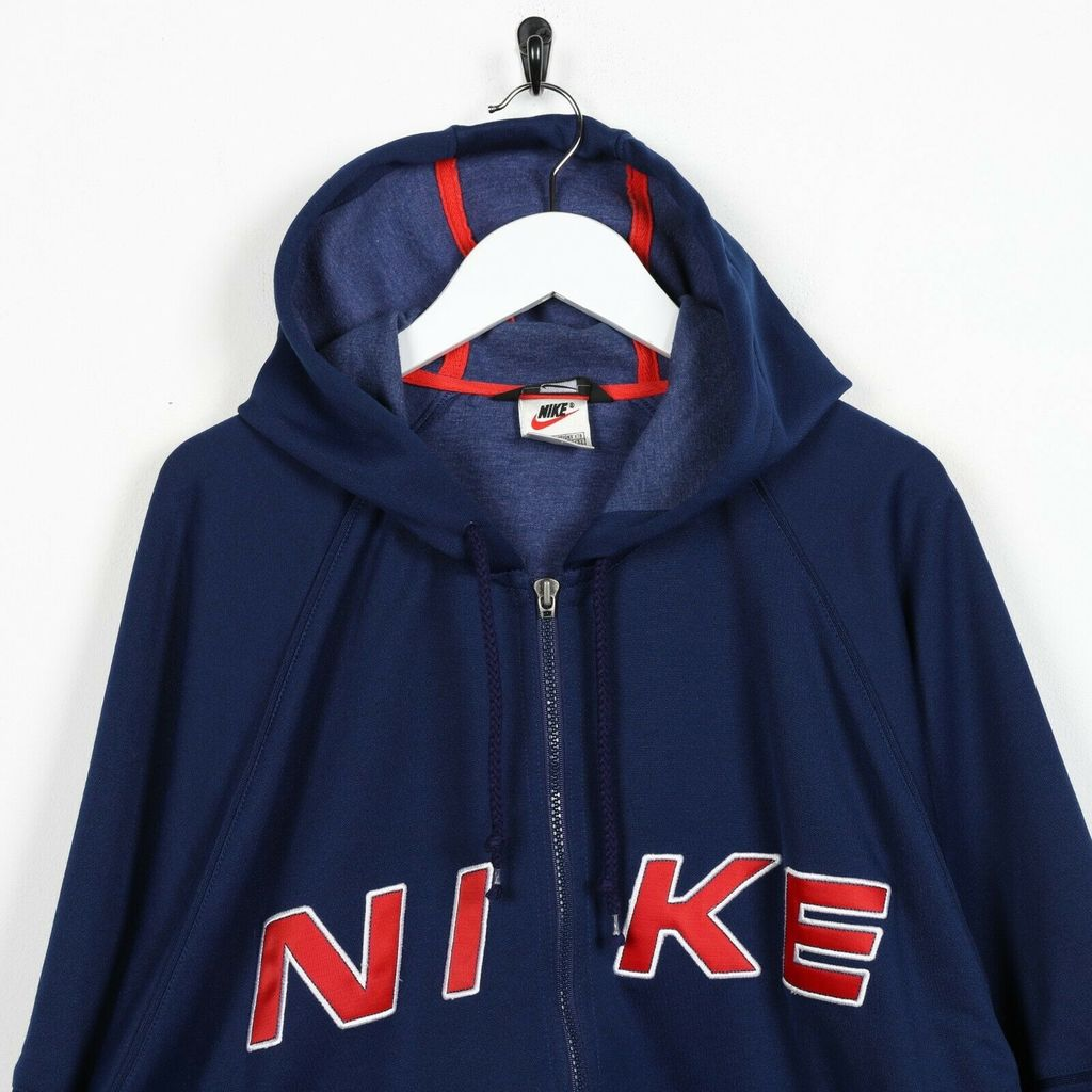 Винтажное худи 90s NIKE Big Spell Out Logo Polyester Navy Blue