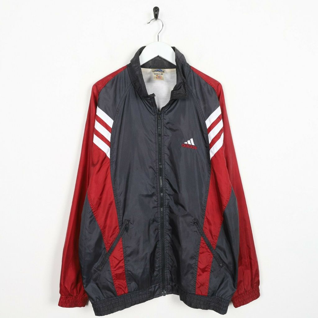 Винтажная олимпийка 90s ADIDAS Small Logo Soft Shell Windbreaker Grey Red