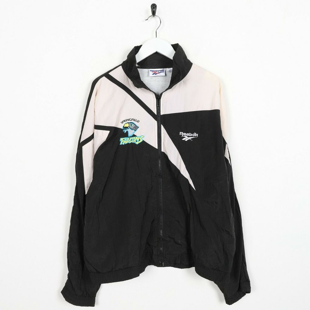 Винтажная олимпийка 90s REEBOK Small Logo Soft Shell Windbreaker Black