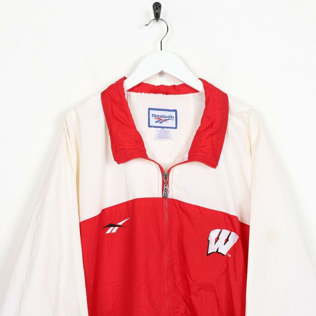 Винтажная олимпийка 90s REEBOK Wisconsin Big Back Soft Shell Windbreaker Red