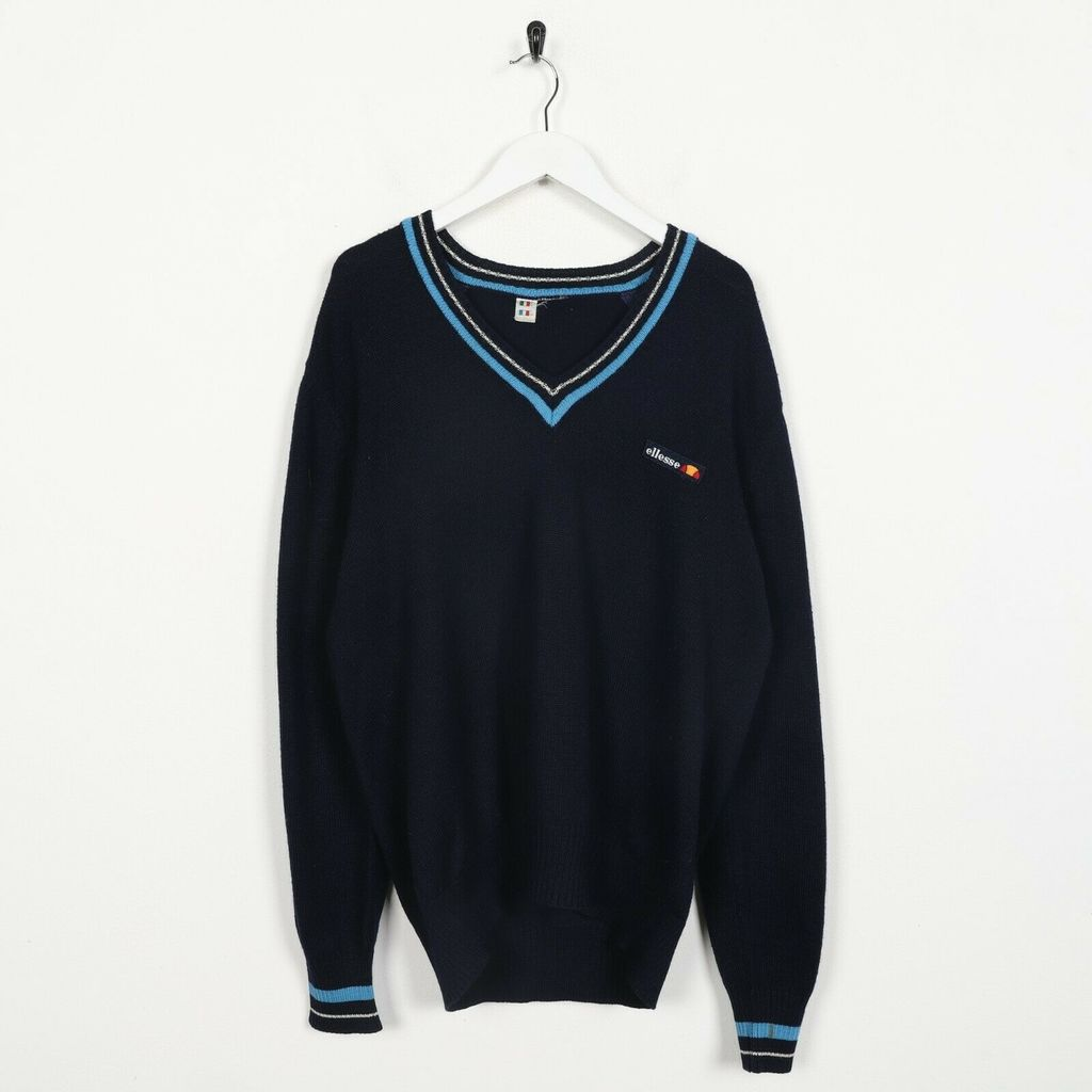 Винтажный джемпер 80s ELLESSE Small Logo Knitted Blue XL
