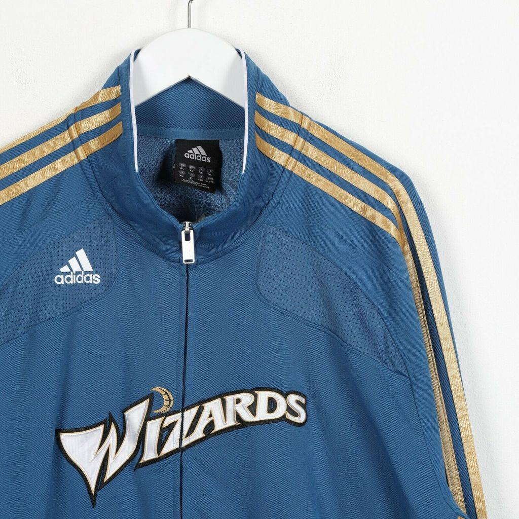 Винтажная олимпийка ADIDAS NBA Wizards Spell Out Zip Up Tracksuit Top Blue