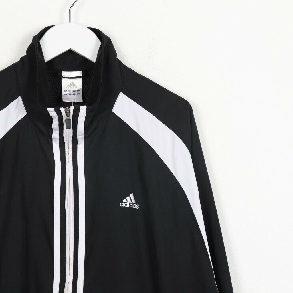 Винтажная олимпийка ADIDAS Small Logo Soft Shell Windbreaker Jacket Black White