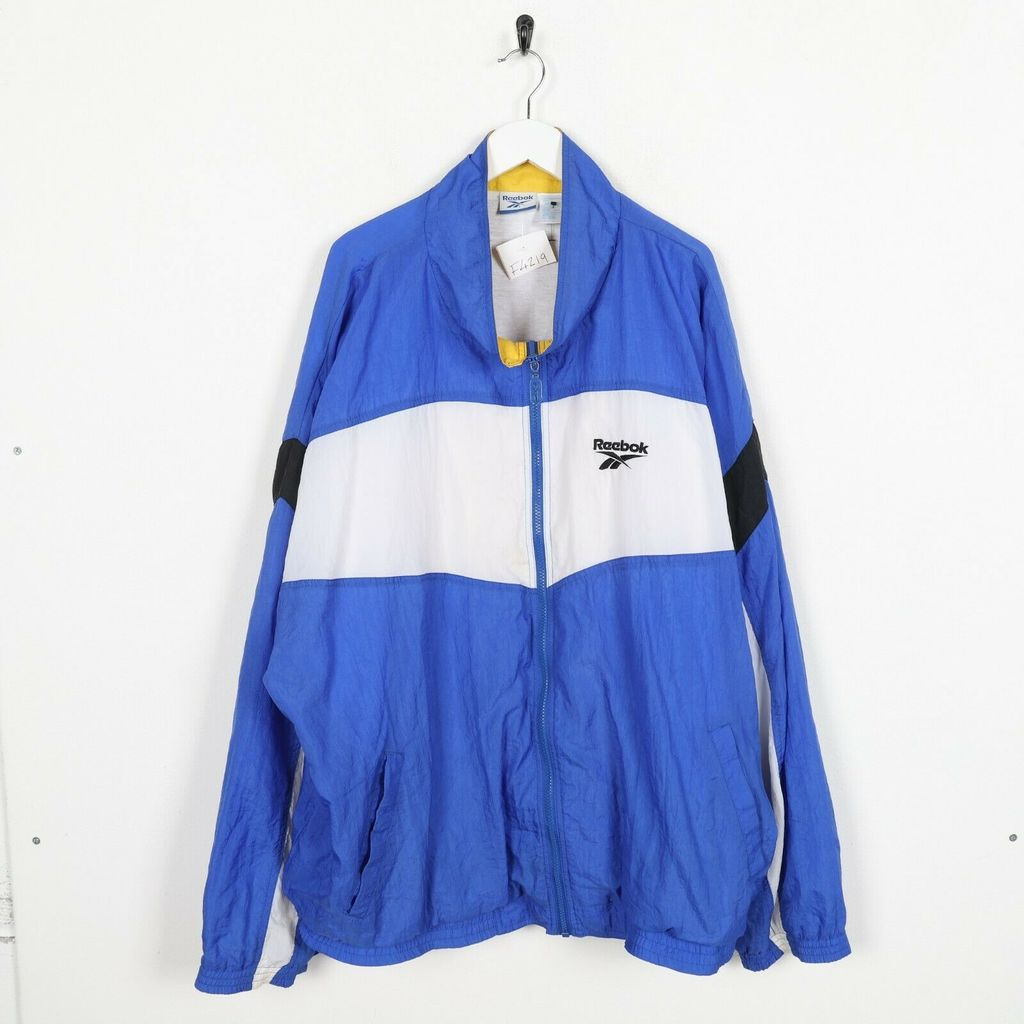 Винтажная олимпийка  REEBOK Big Back Logo Windbreaker Blue White