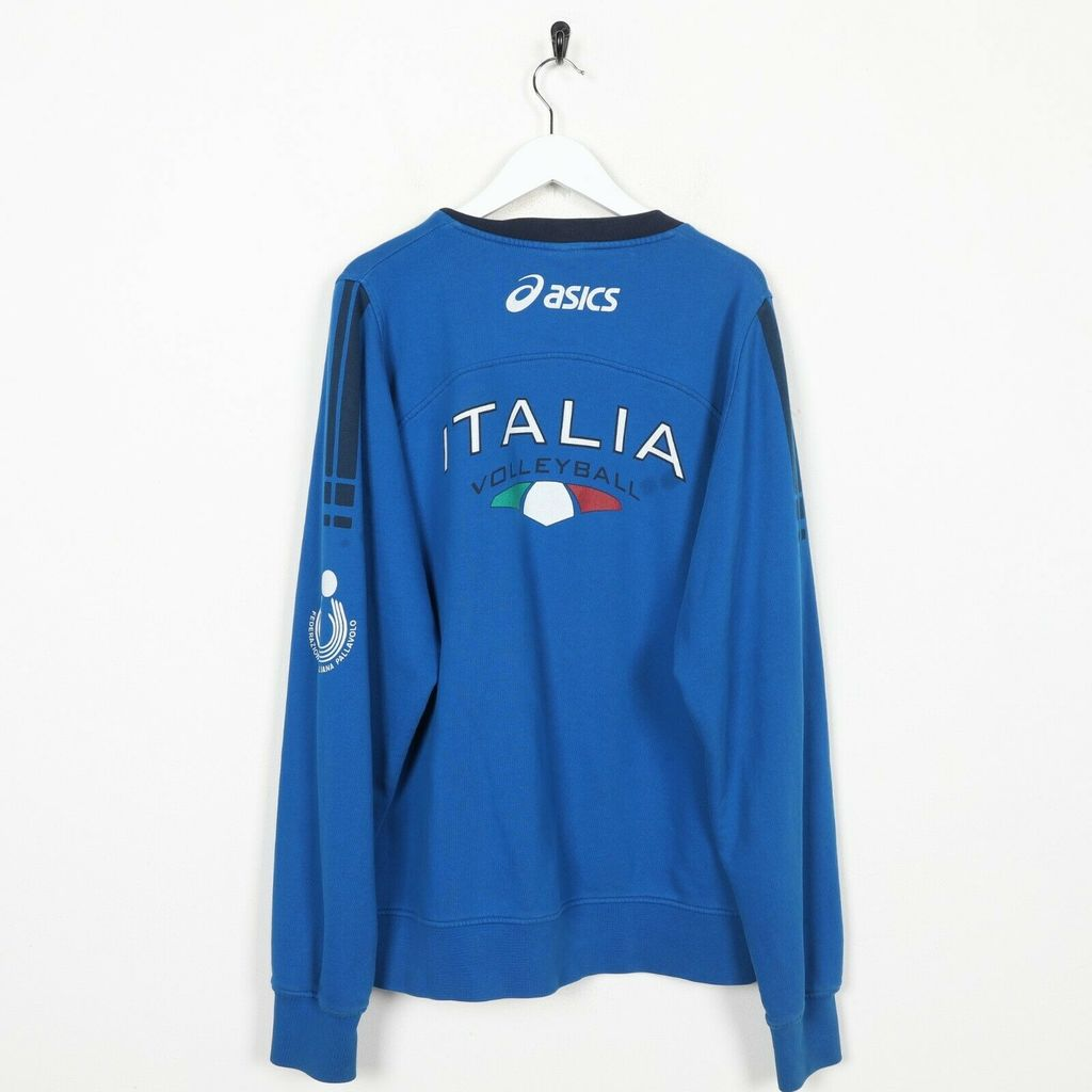 Винтажный свитшот ASICS Italie Neck Logo Sweatshirt Jumper Blue