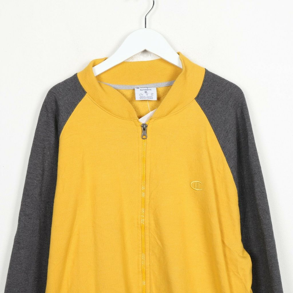 Винтажная олимпийка  CHAMPION Small Sleeve Logo Zip Up Sweatshirt Jumper Yellow