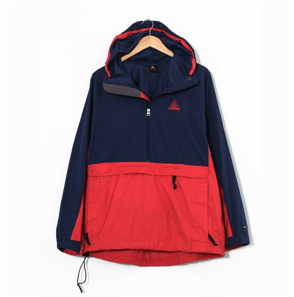Винтажная куртка 90s NIKE ACG Shell Pullover Windbreaker Jacket Blue Red