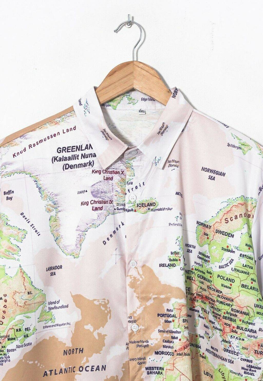 Винтажная рубашка 90s Geographic World Map Graphic Short Sleeve Shirt Beige