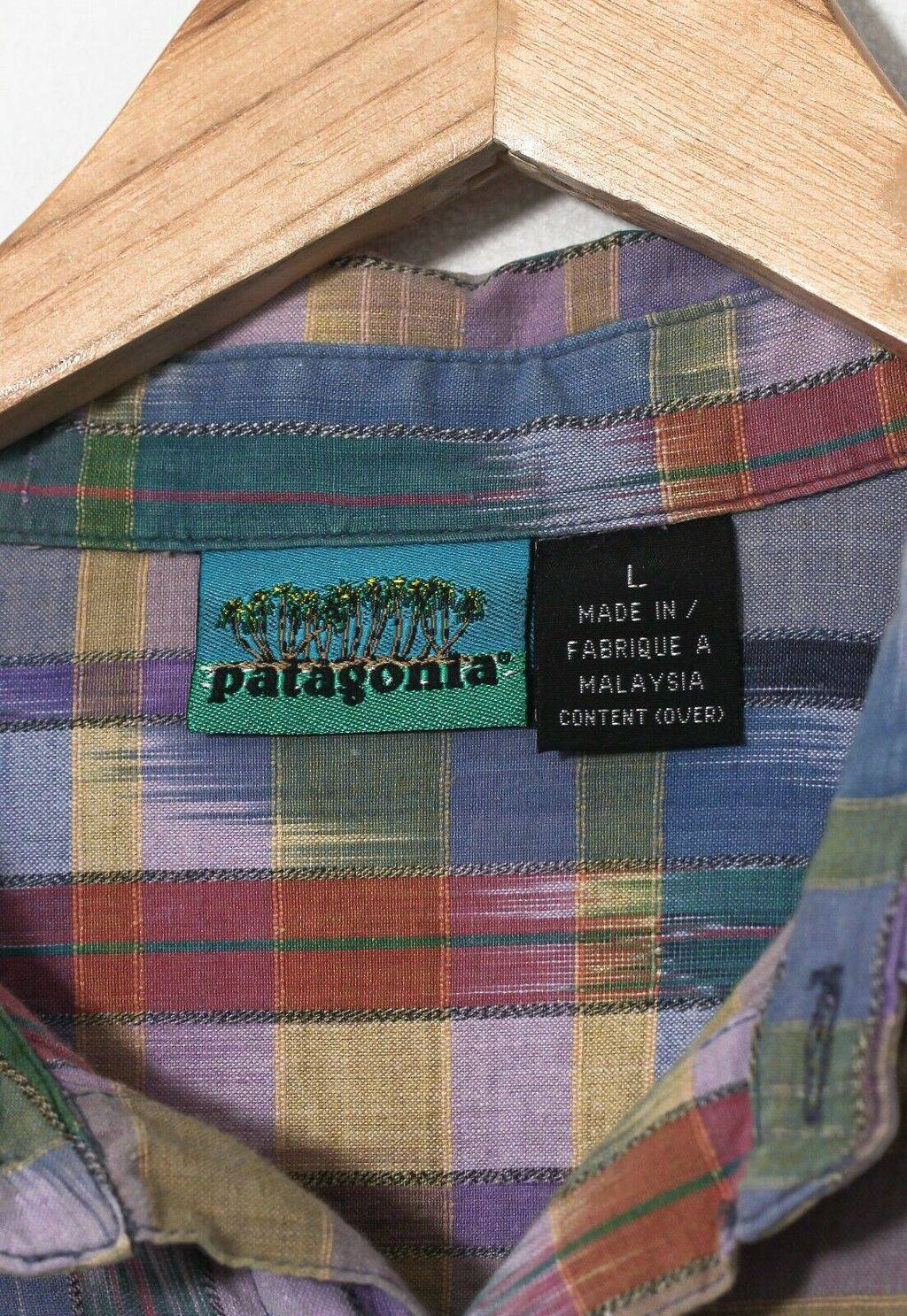 Винтажная рубашка 90s PATAGONIA Short Sleeve Shirt Beige Purple