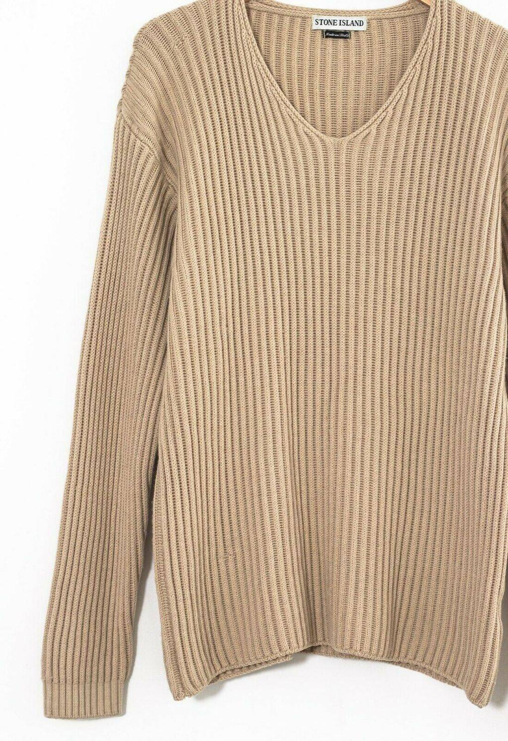 Винтажный джемпер STONE ISLAND V-Neck Wool Knitted Beige