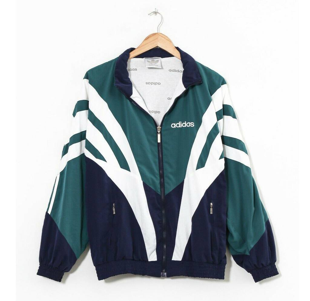 Винтажная олимпийка 90s ADIDAS ORIGINALS Tracksuit Windbreaker Green Blue