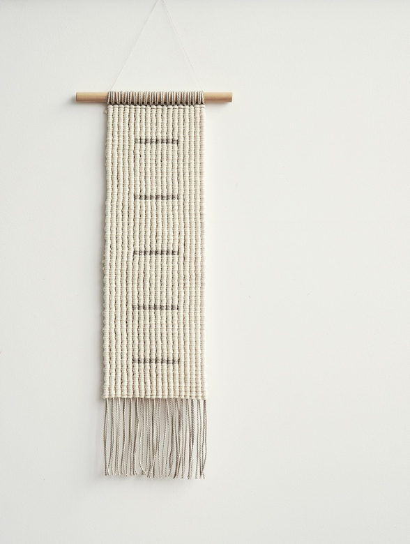 EARTH - long cotton and linen macrame wall hanging - cream white + beige gray