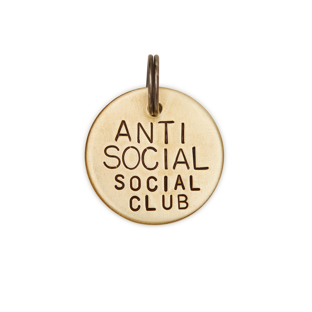 Адресник ANTISOCIAL CLUB (латунь/мельхиор, 25/32 мм)