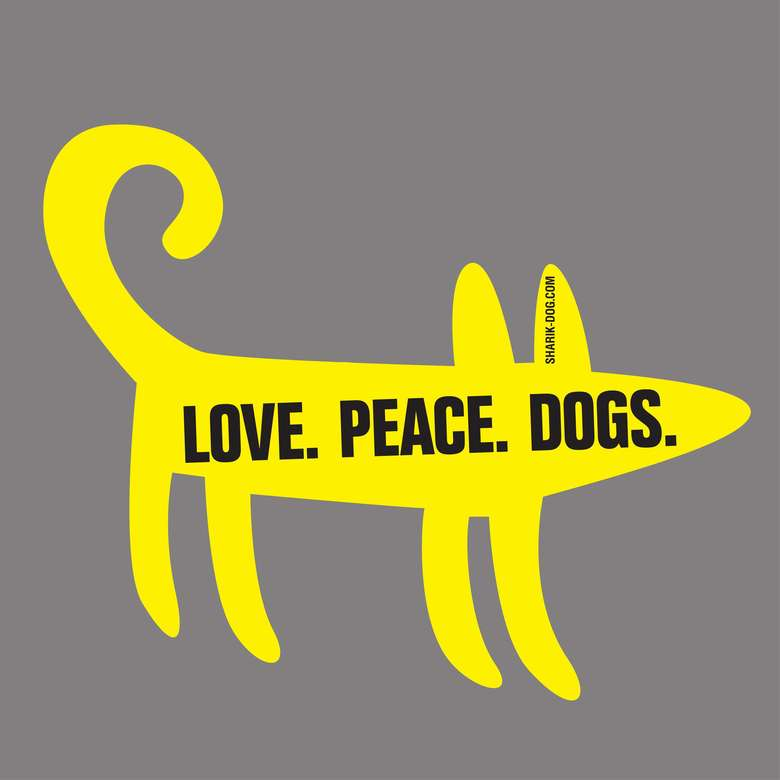 Наклейка на машину LOVE PEACE DOGS