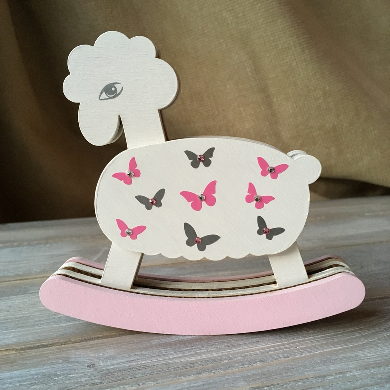 Personalised small rocking sheep. Swarovski special edition